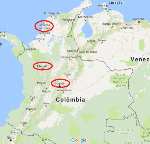 Mapa das cidades visitadas na Colômbia