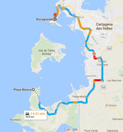 mapa-trajeto-de-cartagena-a-playa-blanca