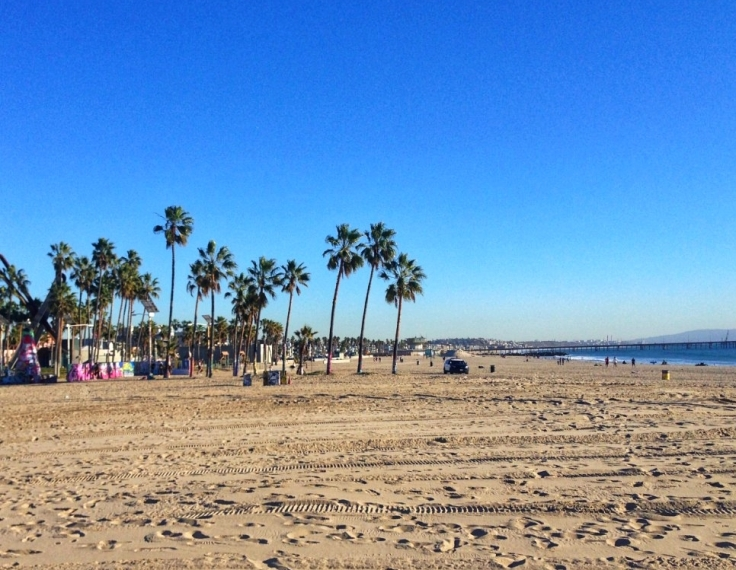 dia de sol praia Los Angeles inverno