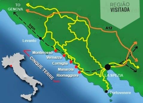 mapa da região de Cinque Terre e Portovenere