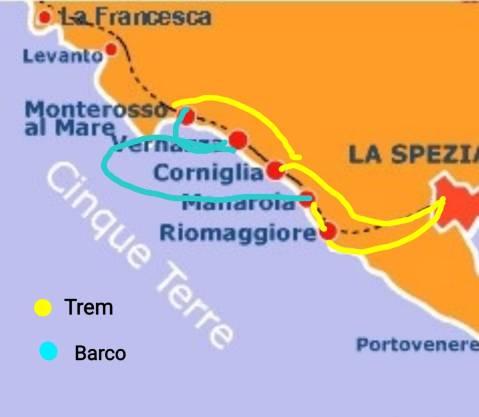 Mapa das rotas de trem e barco em Cinque Terre