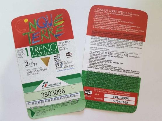 bilhete cinque terre card treno