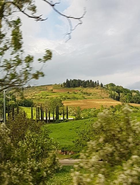 Paisagem da Toscana vista da estrada