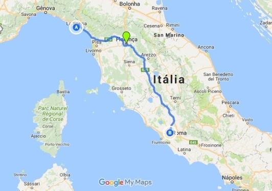 Mapa da rota de Florença a La Spezia e La Spezia a Roma